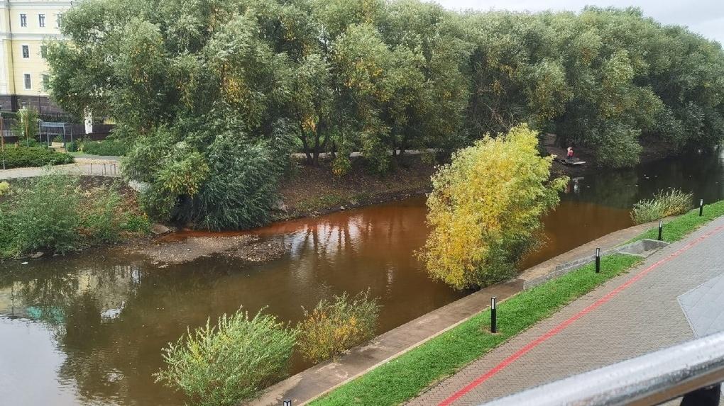 Река Исеть возле полпредства стала коричневой. Фото