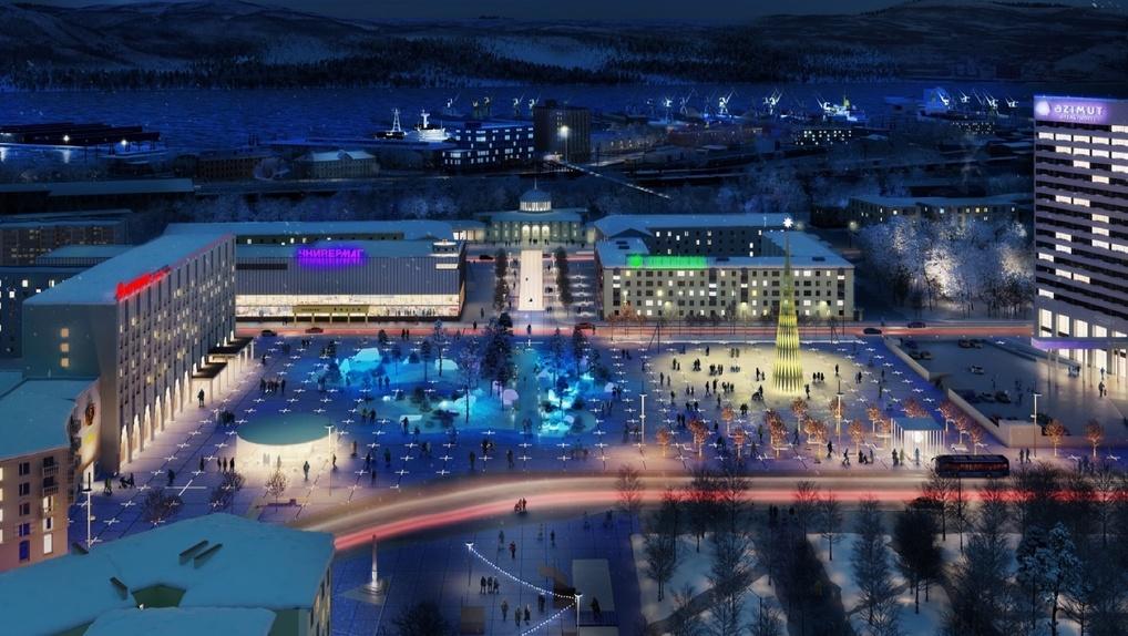 Вместо парковки на центральной площади Мурманска построят остров арктической природы. Рендеры
