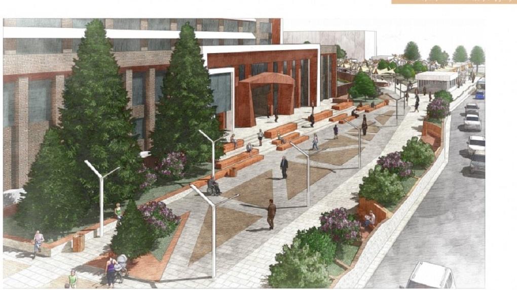 Площади перед УрГЭУ нарисовали проект благоустройства с амфитеатром и палатками. Эскизы