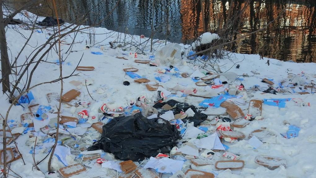 «Взломали контейнер в поисках еды»: берег Исети завалили мусором из ресторана Pizza Mia