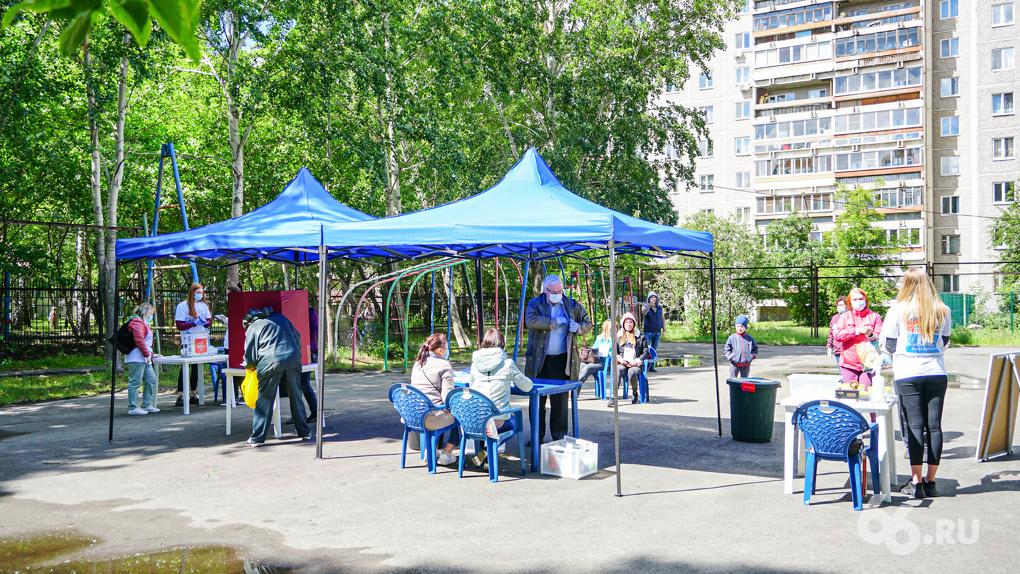 Во дворах развернули палатки и шатры для голосования по Конституции. Фото