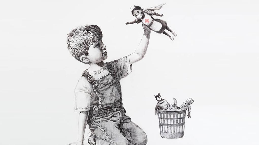 Художник Бэнкси показал новую картину с медсестрой в образе супергероя. Фото