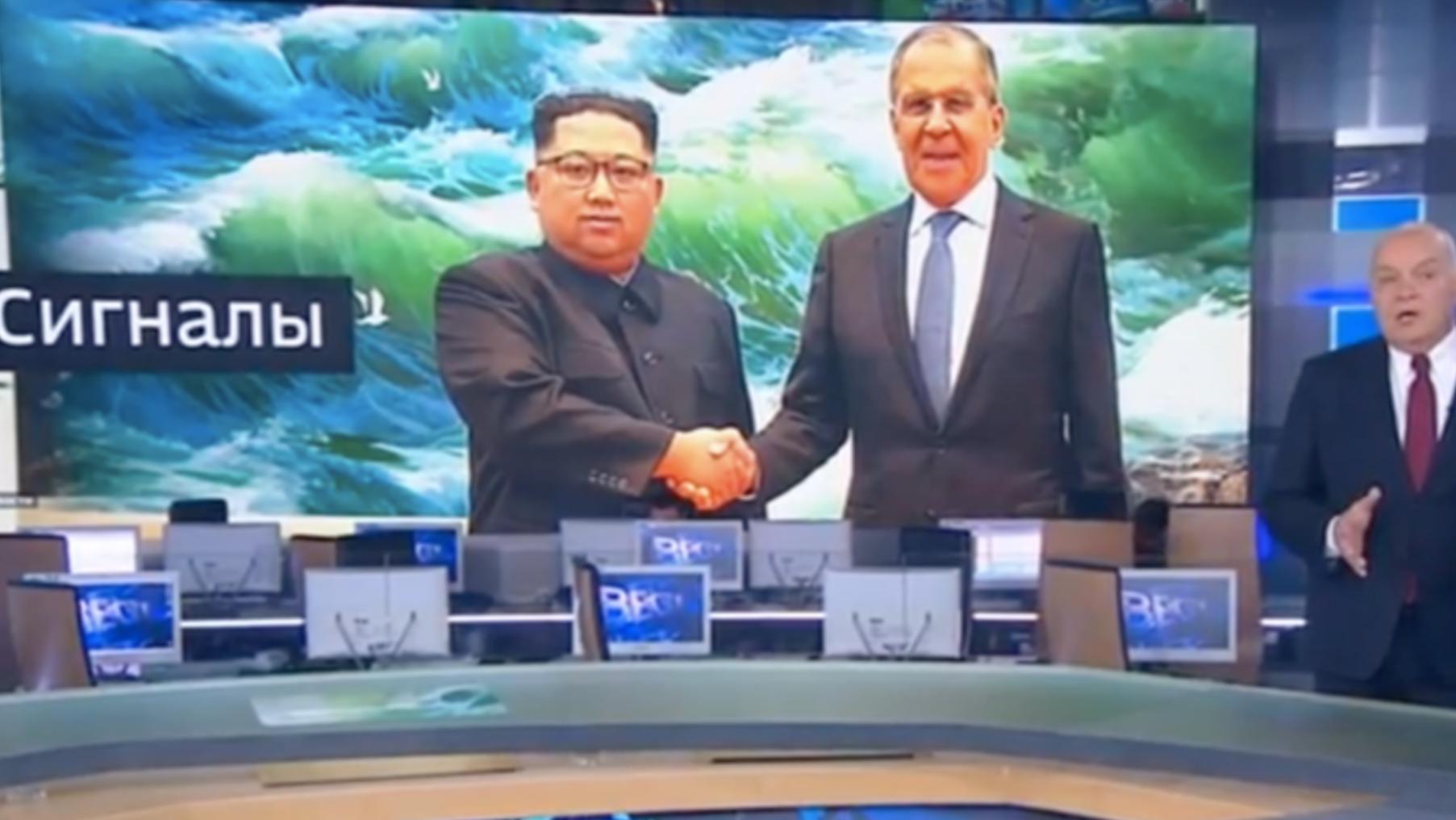 «Россия-1» пририсовала улыбку Ким Чен Ыну на фотографии с Сергеем Лавровым