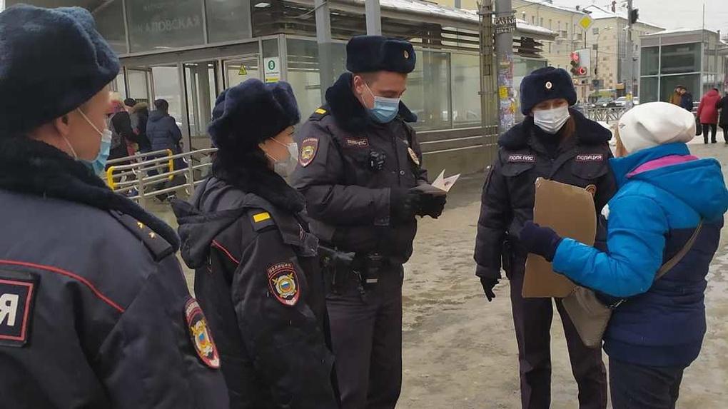 Полицейские задержали пенсионерку во время пикета в поддержку Навального