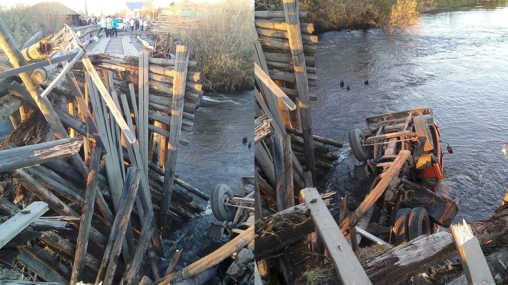В Свердловской области под КамАЗом обрушился деревянный мост