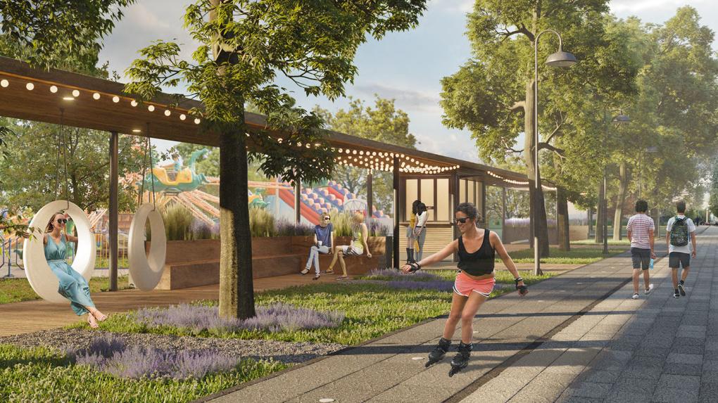 В парке Кирова уберут парковки и построят детские экоплощадки с кафе и скейт-парком. Рендеры